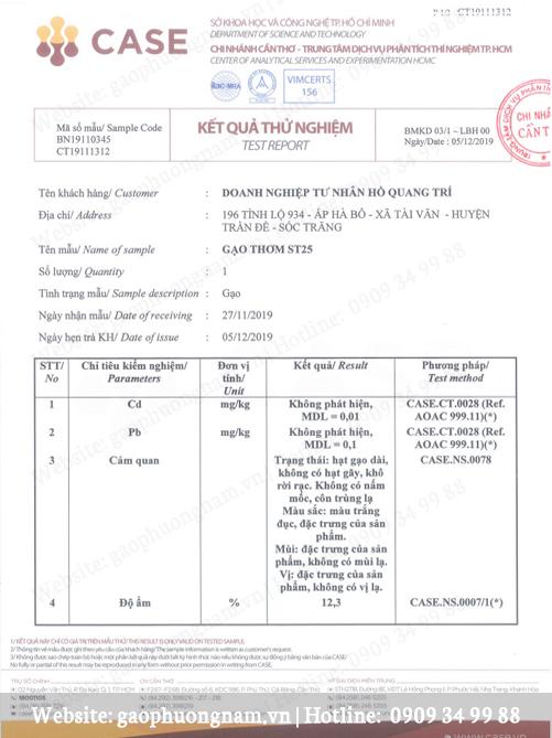 Các giấy chứng nhận gạo ST25 của DNTN  Hồ Quang Trí
