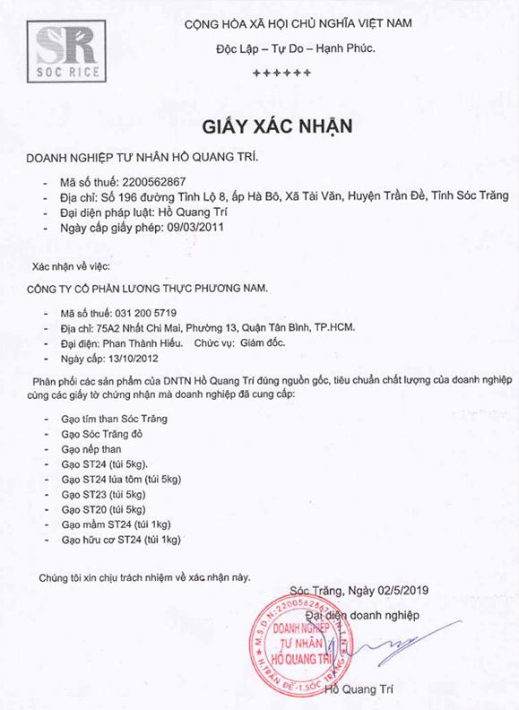 Xác nhận phân phối gạo ST24chính hãng từ DNTT Hồ Quang Trí