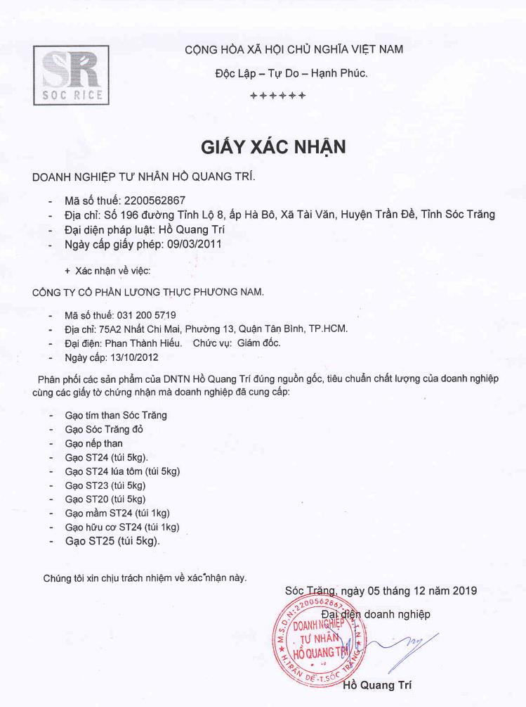 Xác nhận phân phối gạo ST25 chính hãng từ DNTT Hồ Quang Trí