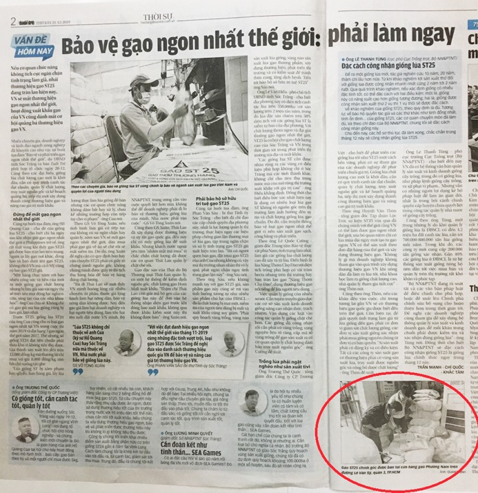 Báo tuổi trẻ viết về gạo ST25 tại Phương Nam