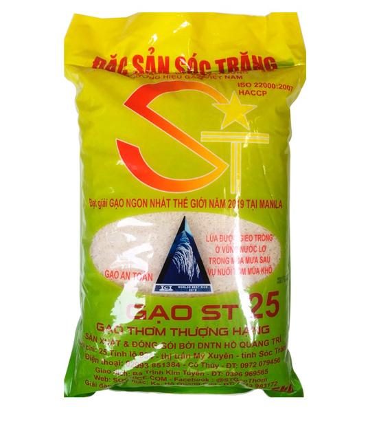 Gạo ST25 (túi 5kg): LOẠI LÚA TÔM trồng tại khu vực nuôi tôm nước lợ