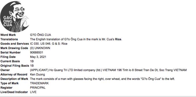 Thông tin về nhãn hiệu mới của nhà ông Hồ Quang Cua trên USPTO