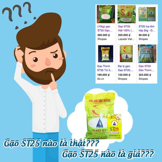 Người tiêu dùng phân vân không biết gạo ST25 nào là thật, nào là giả???