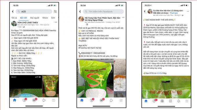 Tràn lan gạo ST25 nhái trên các trang bán hàng online
