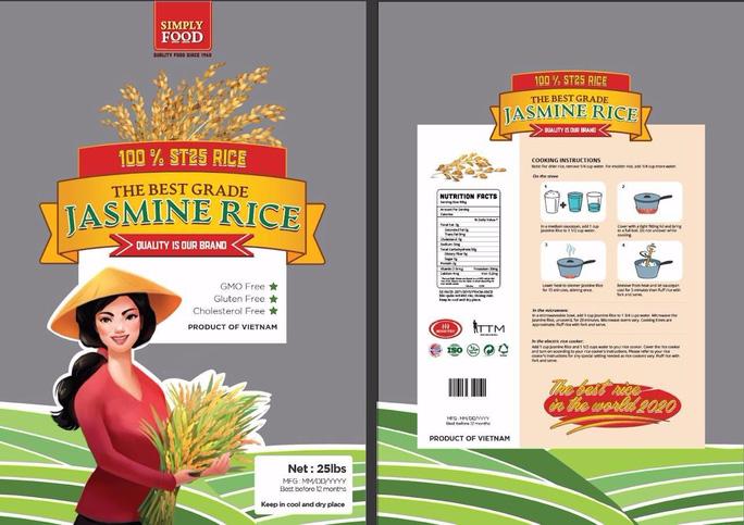 Một nhãn hiệu gạo ST25 được doanh nghiệp tại Mỹ xin đăng ký bảo hộ