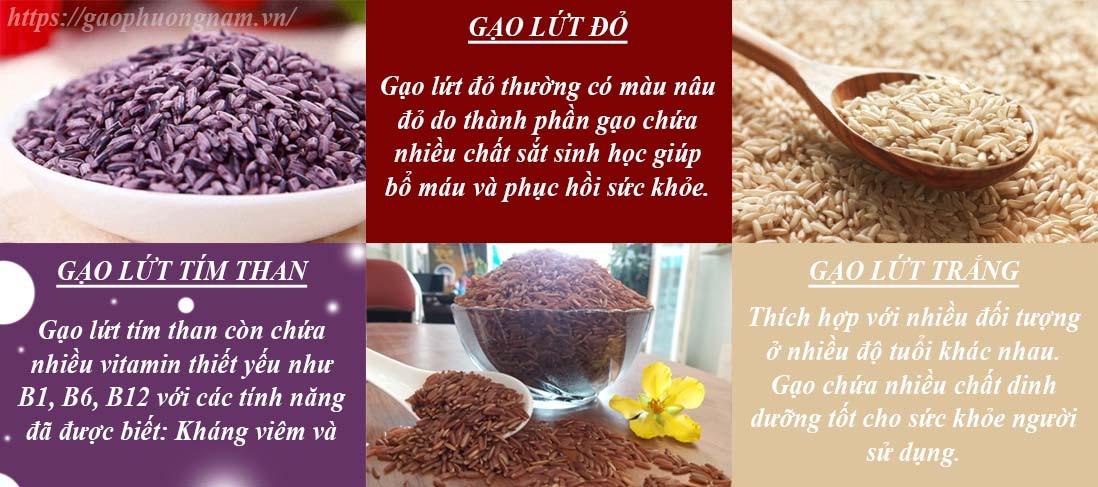 Gạo lứt thường có 3 màu chính là trắng ngà, đỏ và đen. Màu sắc của gạo do lớp vỏ cám bên ngoài quyết định