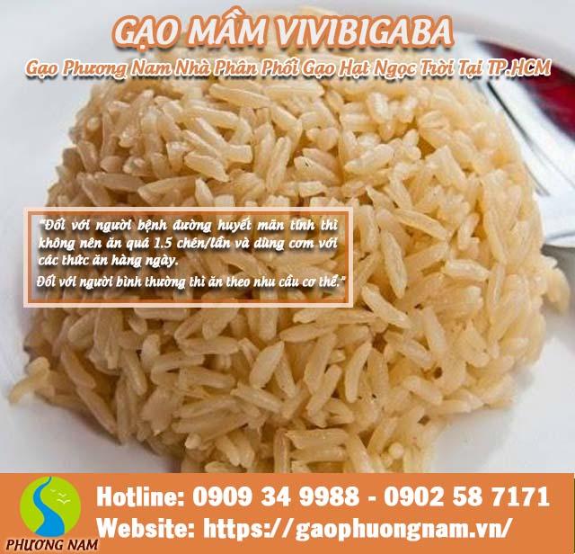 Gạo mầm vibigaba nghệ Đối với người bệnh đường huyết mãn tính thìkhông nên ăn quá 1.5 chén/lần và dùng cơm với các thức ăn hàng ngày.