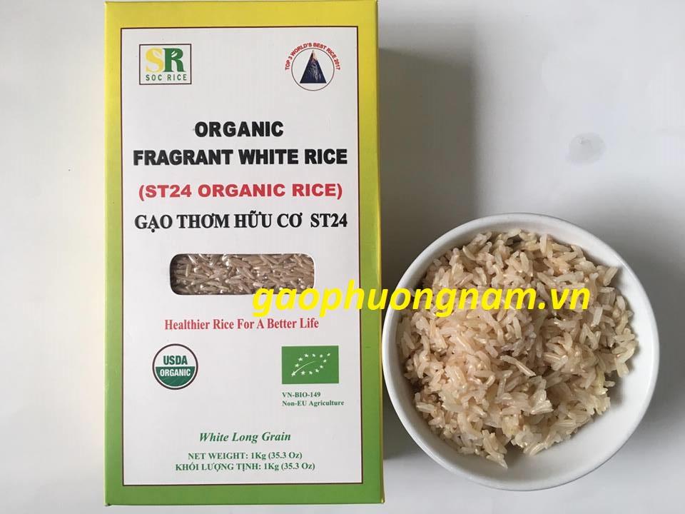 Cơm gạo hữu cơ ST24 (chụp gần)