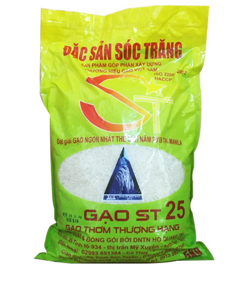 Gạo ST25 (túi 5kg): LOẠI THÔNG THƯỜNG trồng theo qui trình cánh đồng mẫu lớn