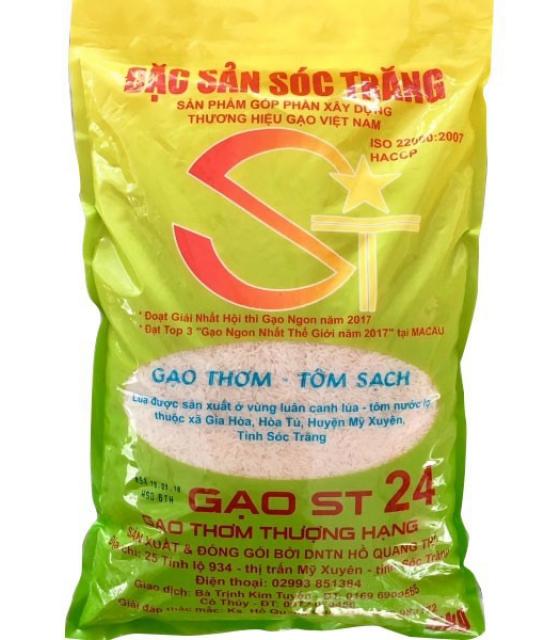 Gạo Sóc Trăng ST24 lúa tômchính hãng - Túi 5kg