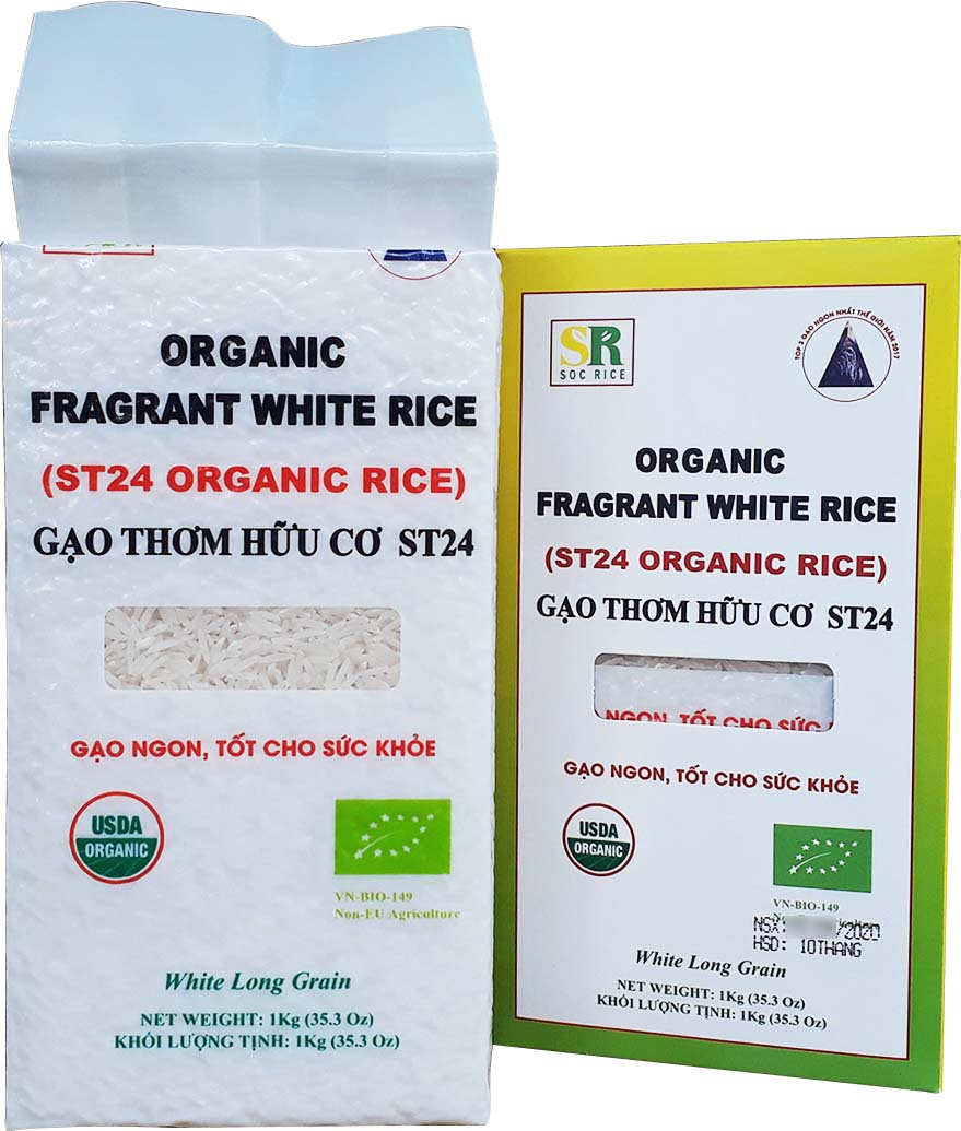 Gạo Sóc Trăng ST24 hữu cơcó hạt thon dài, cho cơm mềm dẻo, giữ nguyên hạt, thơm nhẹ đặc trưng, ăn rất khác biệt.