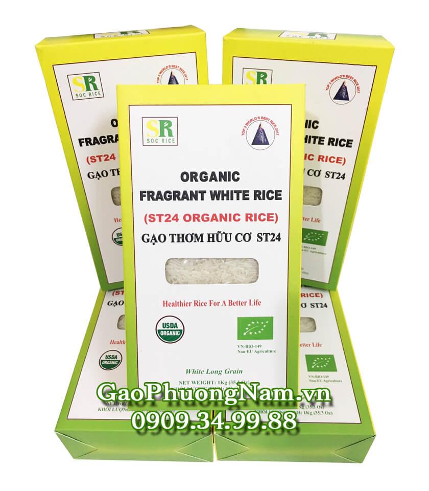 Gạo thơm hữu cơ ST24 chính hãng - Hộp1KG