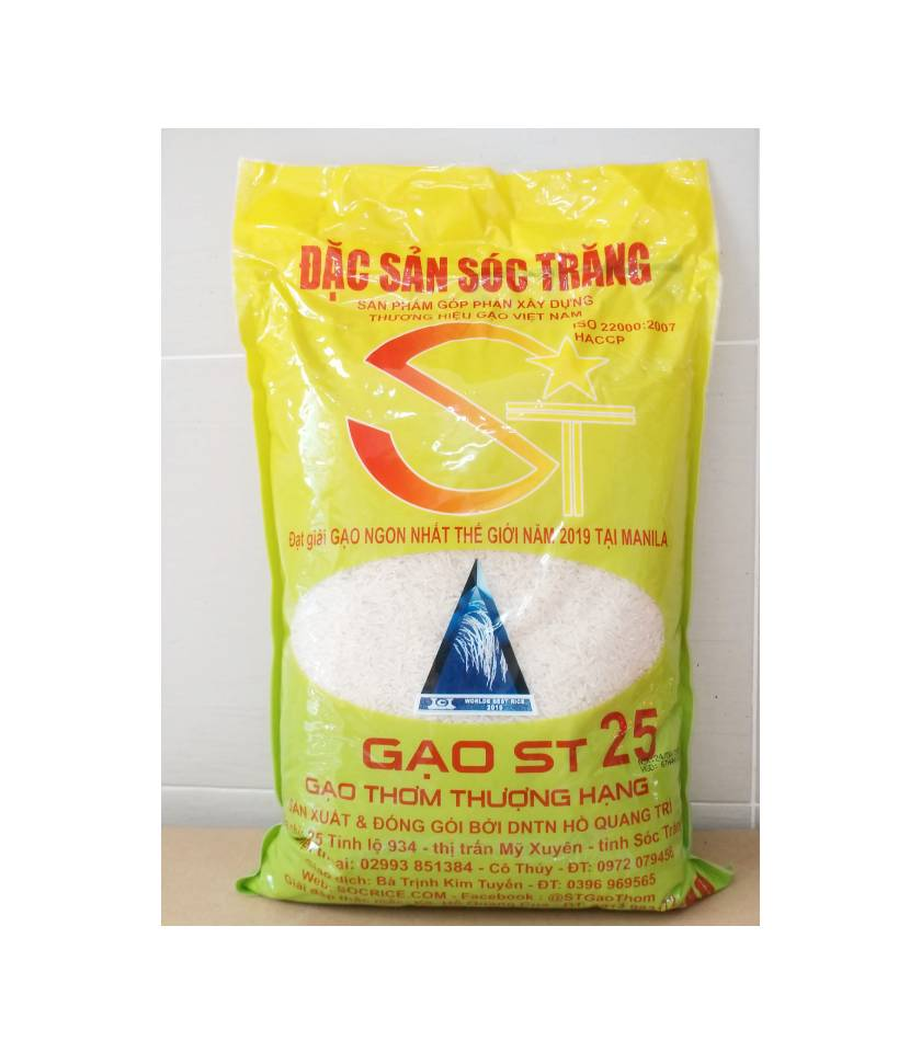 Đây là túi gạo 5kg. Gạo ST25-gạo ngon nhất thế giới